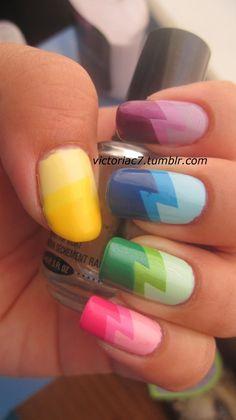 Keep Life Colorful-Rainbow Nail Designs - Nails - Nail Love Nails, How To Do Nails, Fun Nails, Pretty Nails, Rainbow Nails, Gradient Nails, Rainbow Art, Pastel Nails, Cute Nail Designs