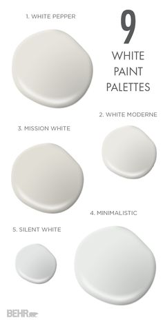 Everyone knows that no two white colors are the same. So pick the perfect bright shade for your space with these 9 white paint palettes that are as fresh as can be. Whether you're searching for a mode (Cool Bedrooms For Two) Behr Paint Colors, White Paint Colors, White Paints, Wall Colors, House Colors, Interior Paint Colors For Living Room, Bedroom Paint Colors, Paint Colors For Home, Interior Colors