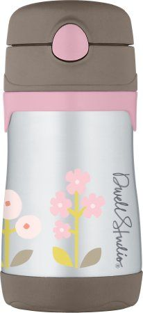 DwellStudio for Thermos, Vacuum Insulated Stainless Steel Straw Bottle, Rosette, 10 Ounce