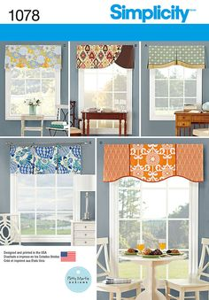 "update your decor with these mixed fabric valances for 39 1/2"" wide windows that feature piping, cording and pleats. patty martin for simplicity."