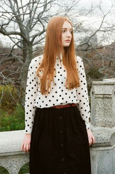 Kaitlin in the Basic Button Up Blouse & Button up Long Skirt by #AmericanApparel