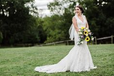 REAL BRIDE:  Sarah looks like a ray of sunshine in her beautiful Kenneth Winston dress! Congratulations Sarah!  Boutique: L&H Bridal Designer:  Kenneth Winston Style #:  1609