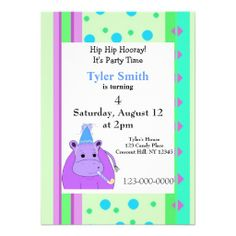 Stripes and Dots Hippo Birthday Invitation