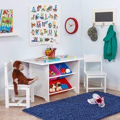 Kids Study Table And Chair Set  www.bobbiejosonestopshop.com  #BobbieJosOneStopShop #Kids #TableAndChairs #Activity #Preschool #Playroom #Wood #White #StorageBins