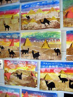 Egyptisch landschap maken met silhouetten en verschillende technieken
