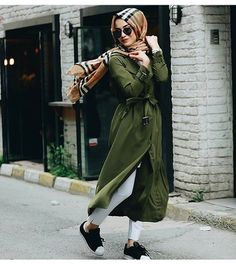 long green open cardigan dress hijab outfit