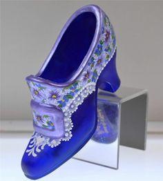 Fenton Shoe Slipper COBALT BLUE SATIN Violets, Lace & Scrollwork OOAK *FreeUSAsh