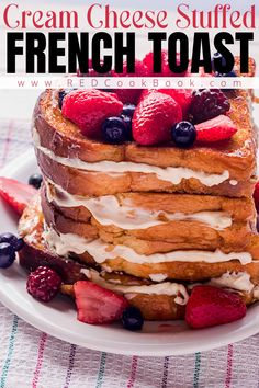 Not your average French toast. This version is stuffed with sweet cream cheese, dipped in egg, cinnamon, and nutmeg, and fried on the griddle or in a skillet. #frenchtoast #creamcheese #stuffedfrenchtoast #breakfast #brunch #easyrecipes #mixedberries #sweetcreamcheese Easy To Make Breakfast, Best Breakfast Recipes, Brunch Recipes, Sweet Recipes, Breakfast Ideas, Breakfast Toast, Sweet Breakfast, Breakfast Buffet, Delicious Donuts