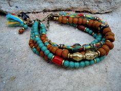 Bohemian+Bracelet+/+Gypsy+Bracelet+/+Boho+/+Multi+by+Syrena56,+$49.00 Tribal Bracelets, Bohemian Bracelets, Colorful Bracelets, Bohemian Jewelry, Handmade Bracelets, Handcrafted Jewelry, Beaded Jewelry, Jewelry Bracelets, Bangles