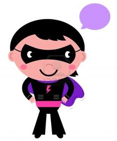 Young hero boy in purple costume