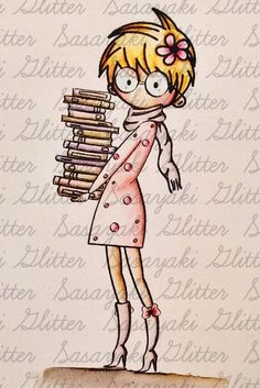 The Library Girl Digital Stamp by Sasayaki Glitter