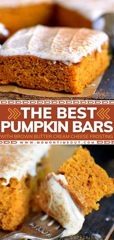 The perfect recipe you must make for a crowd! This easy Thanksgiving dessert is a one-bowl wonder and bakes up fast. Packed with all the flavor and topped with delicious brown butter cream cheese frosting, these healthy pumpkin bars are the BEST! Pin this for later!
