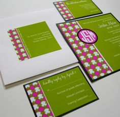 Pink and Lime Green Bat Mitzvah Invite