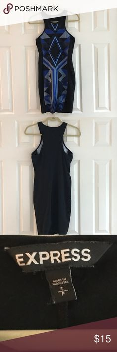 Express bodycon 95% cotton 5% spandex machine wash cold. Dress is black with the blue and gray geometric pattern on the front. Dress is very formfitting.   No rips in those stains and dress is in really good condition.   Armpit to armpit is 15 inches. Express Dresses Mini