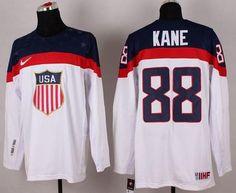 3fb6697d7 2014 Olympic Team USA  88 Patrick Kane White Stitched NHL Jersey wholesale cheap  jerseys  17
