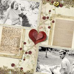 Love Letters...a softly sweet and romantic page with copies of original love letters between a couple. Minimal color and embellishments put the focus on the photos and letters.