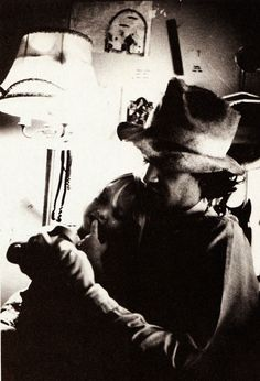 David Lynch with his daughter Jennifer during a break in filming the Eraserhead (1977).
