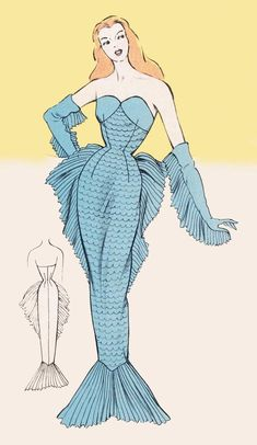This is a digital draft-at-home pattern for a stunning French costume outfit from the The mermaid costume is composed of a fitted gown with pleated side fins and a pleated tail at the hem. The pattern also includes the fins that can be stitched to Moda Vintage, Vintage Mode, Style Vintage, Vintage Fashion, Vintage Outfits, Vintage Costumes, Vintage Dresses, 1950s Costumes, Fancy Costumes