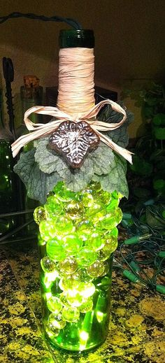 Wine bottle craft project - green | Flickr - Photo Sharing!