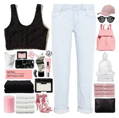 """love is a laserquest"" by astrologykiller ❤ liked on Polyvore featuring Hollister Co., M.i.h Jeans, adidas, Monki, Mansur Gavriel, Christy, NARS Cosmetics, DENY Designs, Lalique and Linum Home Textiles"