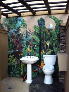 Mural for outdoor bathroom uses glow in the dark paint for eyes of hidden animals bemalen Decorative Painting — Artofwalls Inc.