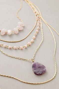 Necklace Violett Layer Necklace - The latest in jewelry at the Anthro stores: Cute Jewelry, Jewelry Accessories, Jewelry Necklaces, Jewelry Design, Jewlery, Delicate Necklaces, Jewelry Ideas, Gemstone Jewelry, Gold Jewelry