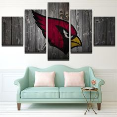 Arizona Cardinals NFL Football 5 Panel Canvas Wall Art Home Decor