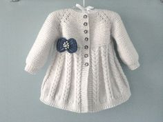 Aurora Baby Knitting Pattern 18 - Her Crochet Knitted Baby Cardigan, Knit Baby Sweaters, Knitted Coat, Cardigan Pattern, Baby Dress Patterns, Baby Knitting Patterns, Coat Patterns, Crochet Pattern, Knitting Baby Girl