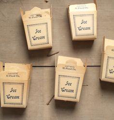 // vintage paper ice cream boxes.