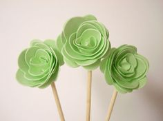 30 PCS  3D 'ROSE ' Party Picks Cupcake Toppers by ellen084 on Etsy