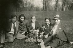 Becky Oxman Staum in center next to daughter Mary Staum Pinsky & Al Pinsky on left, with Stu Pinsky, age 3, in Becky's lap and daughter Lee Staum Goldberg with husband Johnny & son Sidney, about age 3, in Lee's lap 1937 | by reel3d1
