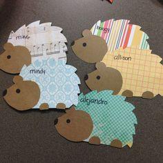 Resident Assistant Door Decs Ra Ideas Name Tags Scrapbook Paper 49 Best Ideas Door Name Tags, Ra Door Tags, Diy And Crafts, Crafts For Kids, Paper Crafts, Cubby Tags, Dorm Door, Door Decks, Hedgehog Craft