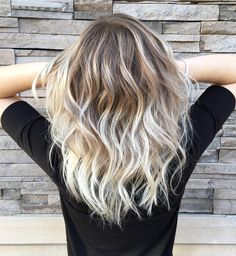 vanilla blonde balayage color melt for wavy dark blonde hair
