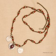 Tribal necklace with jasper and coins by PiekielkoEtnoJewelry