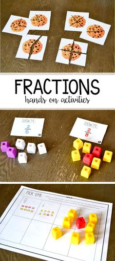 Hands on fraction activities and games for first grade! These games include fractions (one half, one fourth and a few extra) of a whole and of a set!