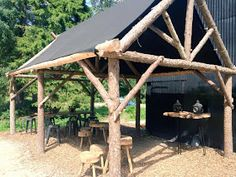 Larch roundwood frames at North Star Club, built by Ditchfield Crafts. Backyard Pavilion, Patio Gazebo, Log Shed, Cool Sheds, Living Roofs, Outdoor Living Rooms, Roof Trusses, Lean To, Outdoor Sheds