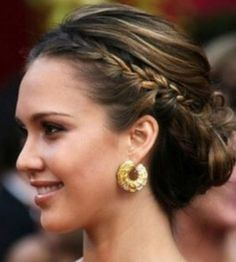 Braided updo short hair (this would solve my growing out bangs!)