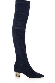 0552f2b915f561 Nicholas Kirkwood - Stud Prism embellished stretch-suede over-the-knee boots