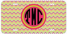 Personalized Monogrammed Chevron Coral Green Pink License Plate Auto Tag Top Craft Case http://www.amazon.com/dp/B00N0250Y6/ref=cm_sw_r_pi_dp_xEotub15EJ1WJ