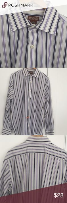 Men's Michael Kors Striped Button Down Shirt Men's Michael Kors White, Deep Purple, and Lavender Vertical Stripe Button Down Oxford 100% Cotton. Professionally Laundered. Elegant and Sophisticated. Michael Kors Shirts Dress Shirts