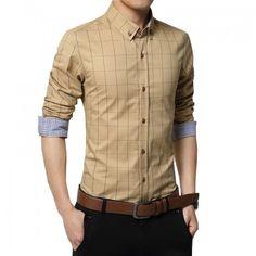 bd88b2f007cb Plus Size 2018 Men s Plaid Cotton Dress Shirts Male Long Sleeve Slim Fit  Business Casual Shirt Camisa For Man