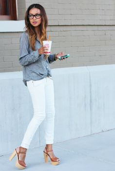 chambray, white pants, leather sandals. sincerely jules #smirnoffsorbet #guiltlesspleasure