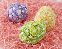 embellish foam eggs with fabric yo-yos