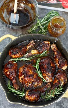 Chicken Recipes Cast Iron For Dinner - fig and rosemary glazed skillet chicken - cast iron skillet Chicken Cast Iron Skillet, Iron Skillet Recipes, Cast Iron Recipes, Fig Recipes, Dinner Recipes, Cooking Recipes, Healthy Recipes, Healthy Dinners, Delicious Recipes