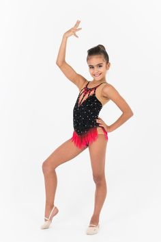 An expressive, passionate leotard for rhythmic gymnastics, which will convey the emotionality and energy of the performance. Lace fabric, bright colored elements, graceful black stripes adorn the suit. Price from 129$ Rhythmic Gymnastics Leotards, Lace Fabric, Black Stripes, Competition, Ballet Skirt, Bright, Suits, Stuff To Buy, Shopping