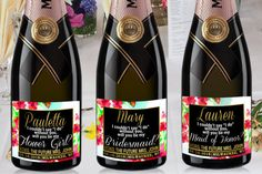 BRIDE MINI CHAMPAGNE Labels Watercolor Flower by LabelByLoveArts
