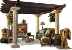 Luxurious Living Pergola with Furniture