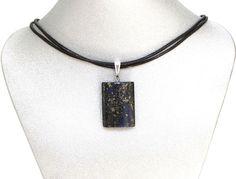 "Natural Gemstone Blue Copper Jasper Rectangle Pendant Necklace Black Cord 16""  #Pendant #Healing  #Protection #Semiprecious #Stone"