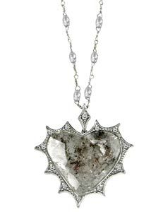 "Barry Kronen-  Pointed diamond heart sliver surrounded by diamond melee from the ""Diamond Rocks"""