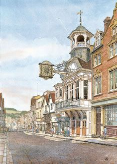 High Street Guildford - Painting by Surrey Artist John Lynch